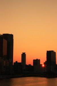 北浜の夕焼け風景