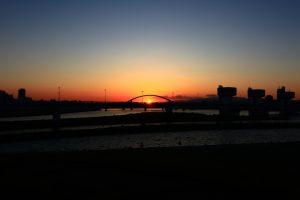 淀川河川敷の夕景